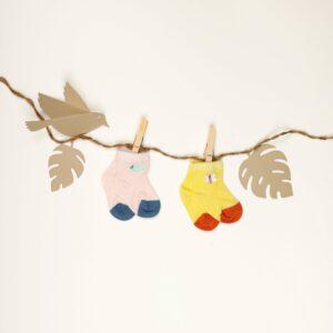 Kicks & Crawl- Pink and Yellow Long Cozy Socks (Pack of 2)