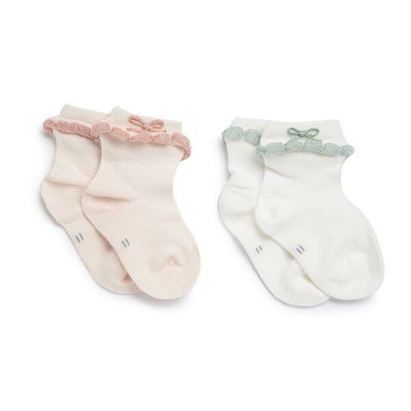 Kicks & Crawl- Pink and Green Bow socks (Pack of 2)