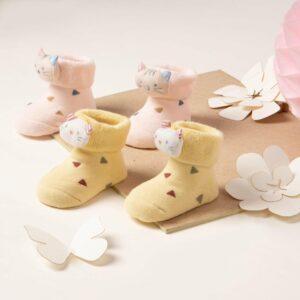 Kicks & Crawl- Yellow and Pink Kitty 3D Socks (Pack of 2)