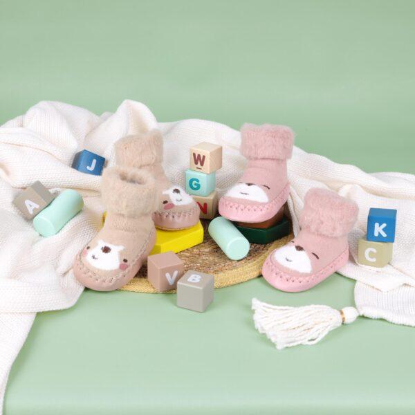 Kicks & Crawl- Happy Feet Pink & Peach 3D Booties