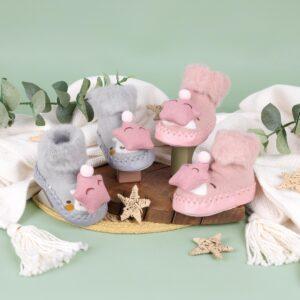 Kicks & Crawl- Cozy Star Pink & Grey 3D Booties