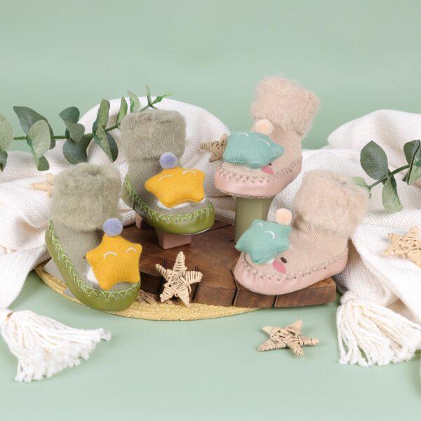 Kicks & Crawl- Cozy Star Cream & Green 3D Booties
