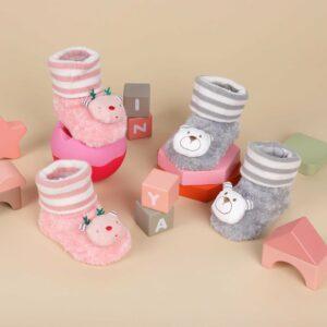 Kicks & Crawl- Fuzzy Teddy & Reindeer 3D Socks - 2 Pack