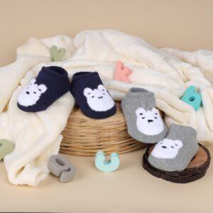 Kicks & Crawl- Cutie Bear Grey & Blue Socks - 2 pack
