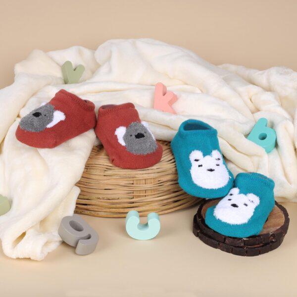 Kicks & Crawl- Cutie Bear Blue & Red Socks - 2 pack