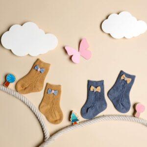 Kicks & Crawl- Bows & Toes Yellow & Blue Socks - 2 pack