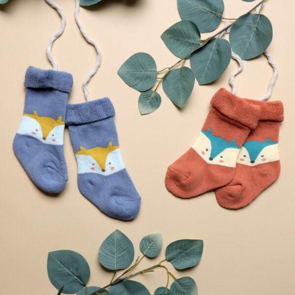 Kicks & Crawl- Foxy Baby Hi Fold Socks - Orange & Blue