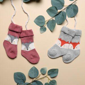 Kicks & Crawl- Foxy Baby Hi fold Socks - Red & Grey