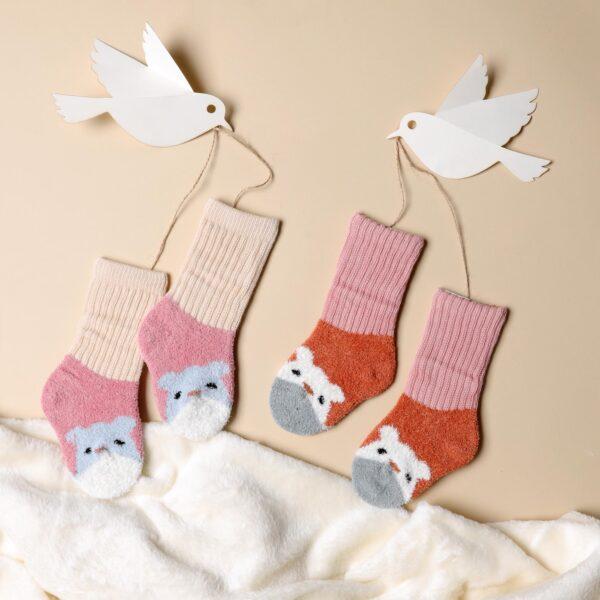 Kicks & Crawl- Happy Hamster Pink & Peach sock - 2 pack
