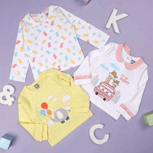 Kicks & Crawl- Happy Clouds Girls Everyday Essentials - Pack of 3