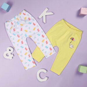 Kicks & Crawl- Baby Elephants Girls Diaper Leggings - Pack of 2