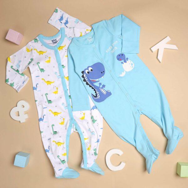 Kicks & Crawl-Mommy's Favourite Dino Sleep Suit - 2 pack